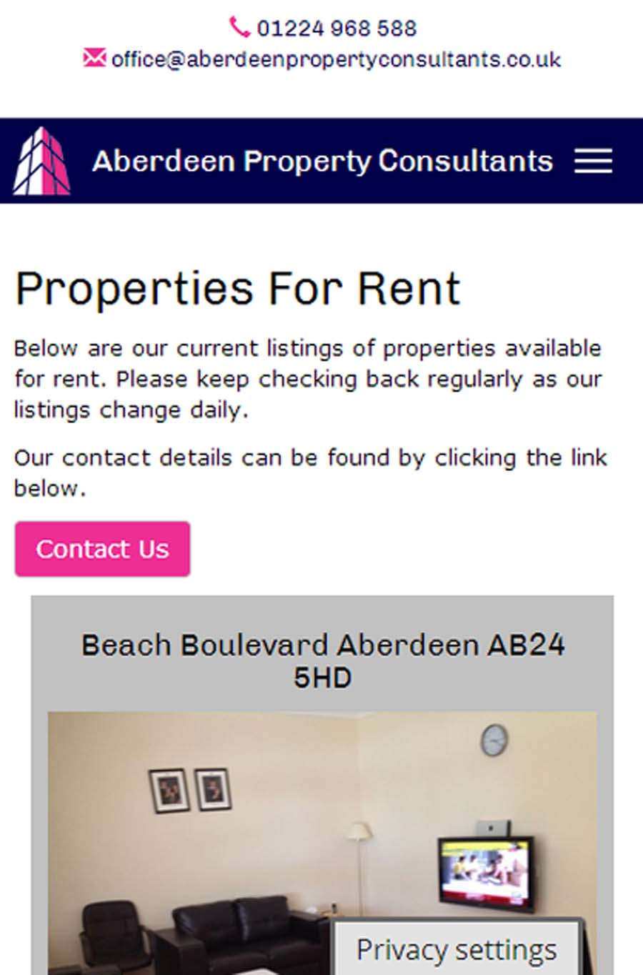 A Property Listing on Mobile