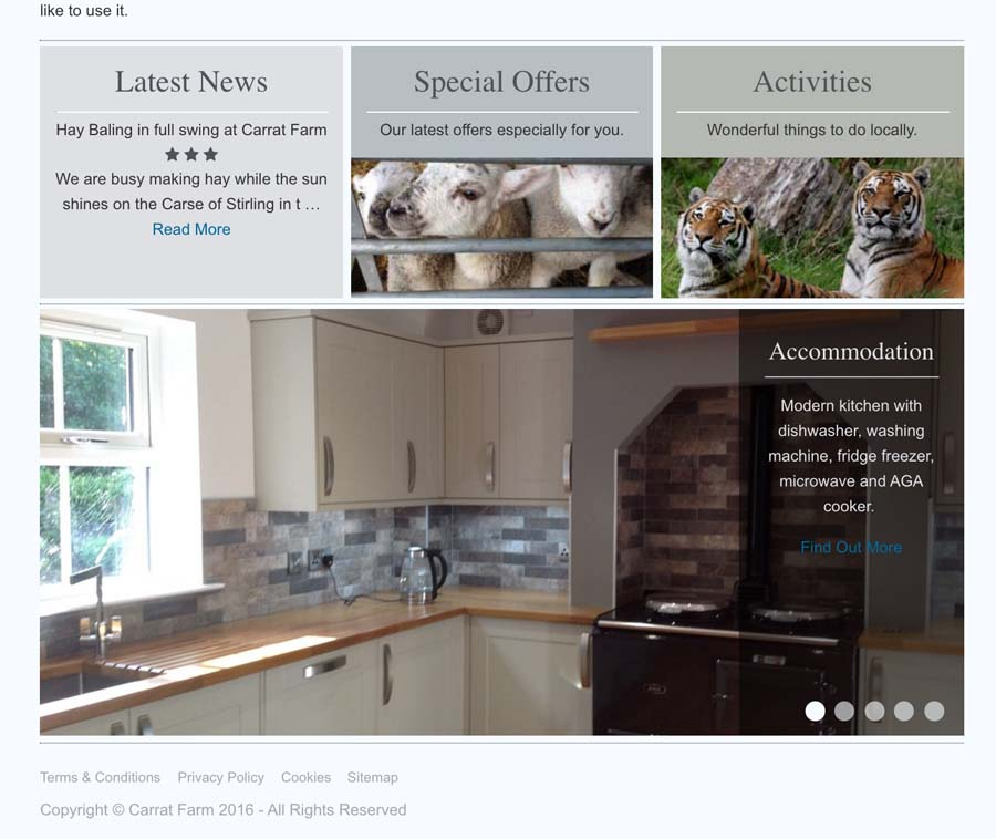 Home page view with accomodation slider.