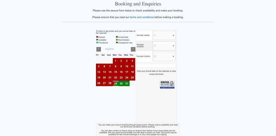 Integration of booking and availability via Super Control.