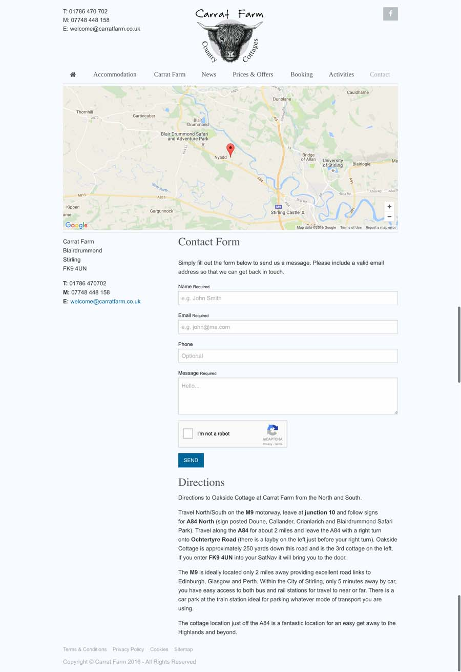 Contact page with map, enquiry form and directions.