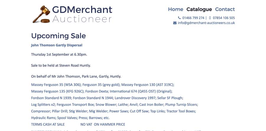 Sale description on Catalogue page