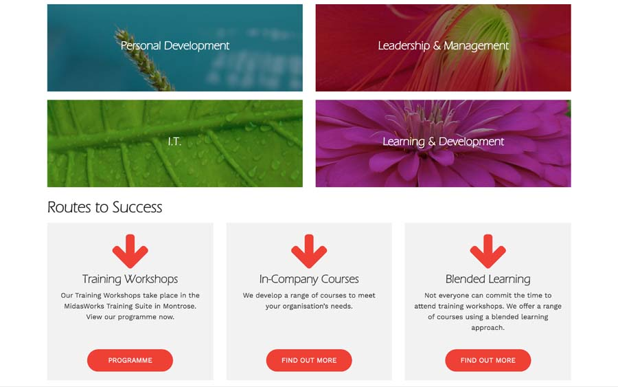 Homepage Course Categories