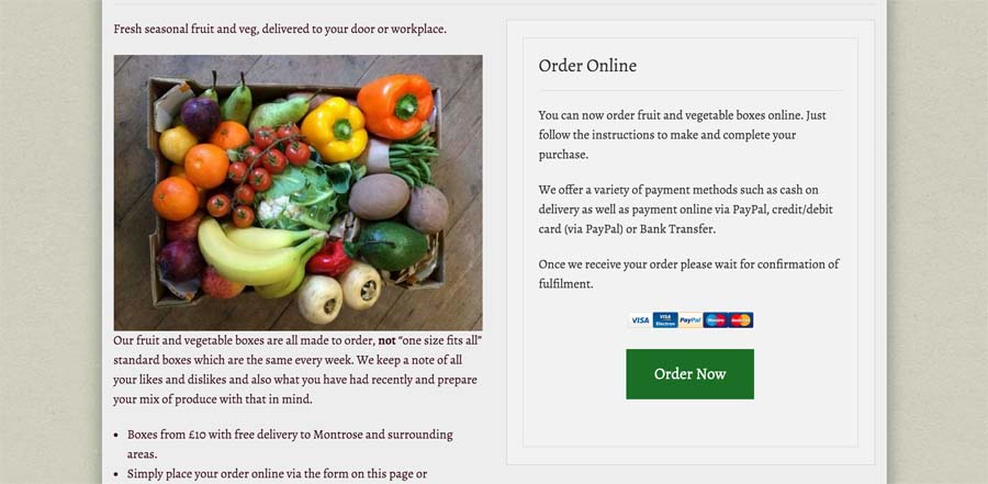 Order Page on Desktop for Fruit & Veg Boxes