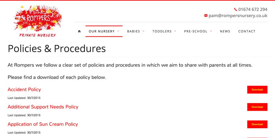 Dynamically Populated page for Policy downloads