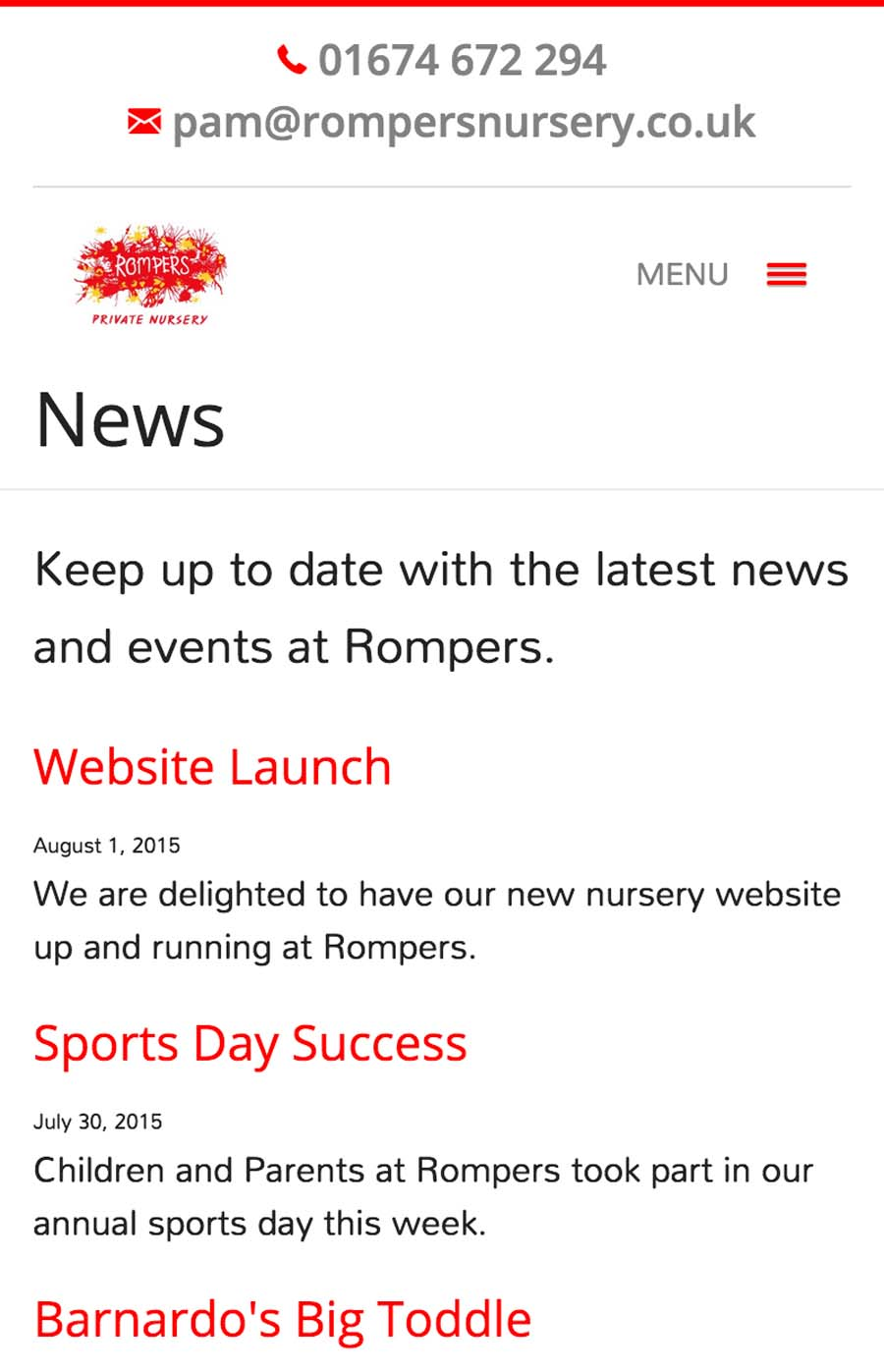 News Section on Mobile