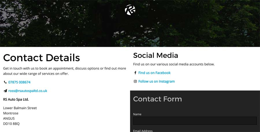 Part of the Contact page featuing form, map and social media links.