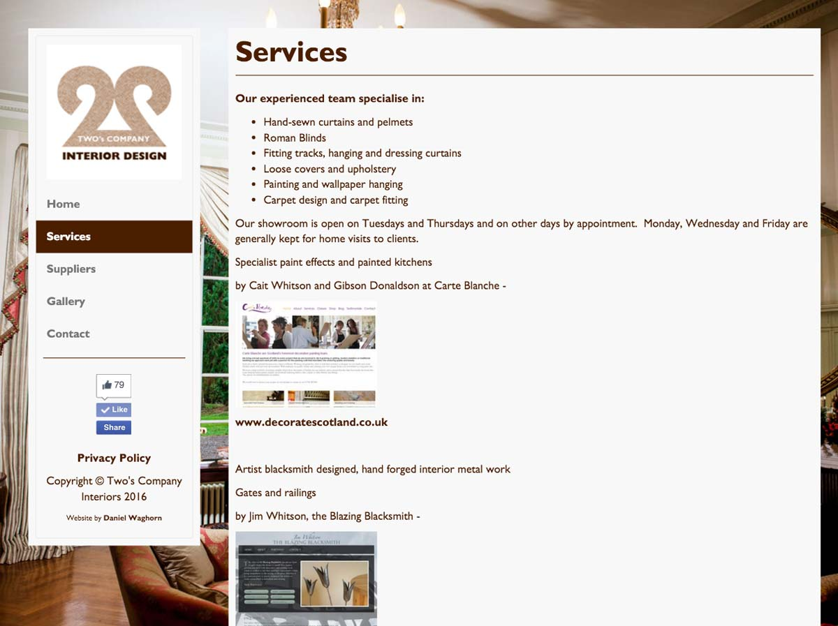 Example of services page on a desktop or tablet